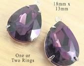 Amethyst purple glass beads - 18x3 rhinestone teardrop pendants or earring drops - glass gem bridesmaid jewels - one pair