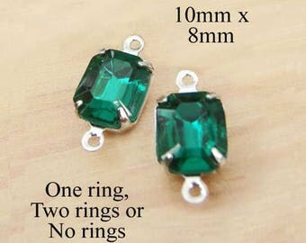 Emerald Green Glass Beads - 10x8 Octagons in Silver Settings or Brass Settings - 10mm x 8mm - Rhinestone Glass Gems - One Pair