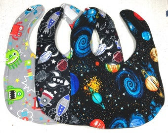 Space Baby Bib - Set of Bibs - Infant Bib - Dribble Bib - planets - aliens - Baby Shower Gift - handmade - rockets - spaceship