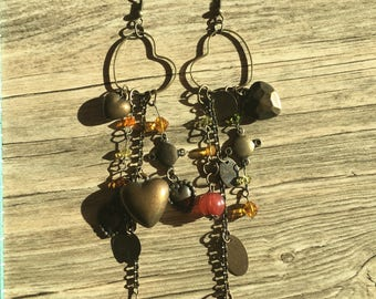 Brass Heart Earrings//Dangle and Drop Earrings