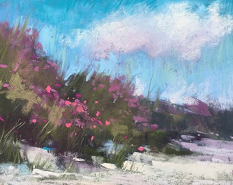 IRELAND Seashore PINK Wildflowers plein air  Landscape Original Pastel Painting Karen Margulis 5x7