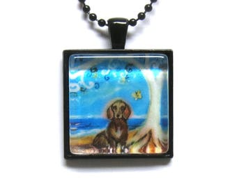 Dachshund Doxy Spiritual Tree of Life ocean painting Art Glass Tile Pendant Necklace