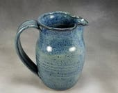 Petite Blue Pitcher Creamer or Gravy Boat Hand Thrown Stoneware Pottery 1