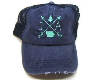 Clearance - Sale - Gift - Gracie Designs Hat - Iowa Arrow Design Distressed trucker
