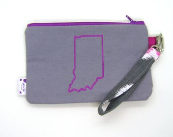 Clearance - Sale - Gift - Gracie Designs Wristlet - Pink on Gray Indiana