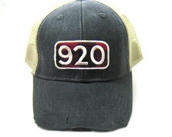 920 Area Code Hat - Distressed Snapback Trucker Hat - green bay northeast wisconsin