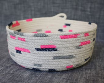medium coiled rope bowl in neon pink, navy and silver, natural, handmade, cotton, rope, basket, home decor, storage, nursery