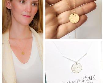 Big Dipper Necklace, North Star, Alaska Necklace, Alaskan Flag, Gold Constellation Necklace, Pole Star, Best Friend Gift, Long Distance Gift