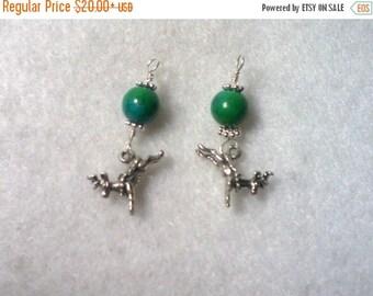 ON SALE Reindeer Earrings, Chrysocolla & Sterling Silver Earrings, Reindeer Charm Earrings, Sterling Silver Earrings