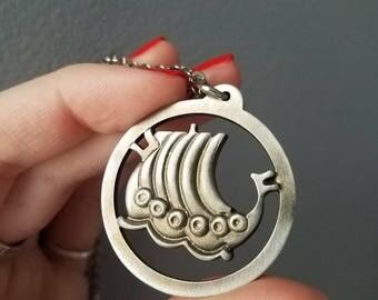 Vintage Denmark Jorgen Jensen Pewter Viking Sailing Ship Medallion Necklace