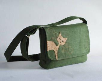 Green  linen messenger bag with cat, cork leather cat applique, vegan, small purse, cat bag, cruelty-free cork leather, linen purse, handbag
