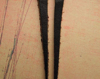"Dark Brown Leather Wisps - 2.5"" in length - 1 Pair"
