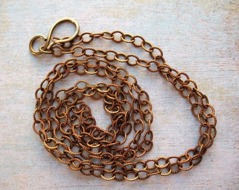 """Antiqued Brass Twist Chain Necklace - 30"""" in length"""
