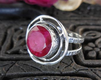 Ruby sterling silver ring - size 8.5