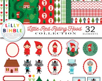 Little Red Riding Hood clipart and digital paper, wolf, clip art, scrapbook, commercial use, cute, kawaii, storybook,