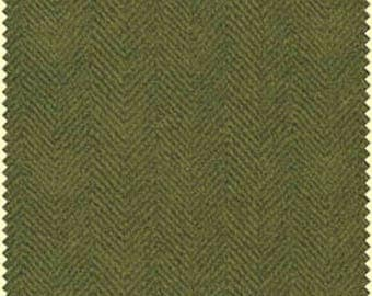 ON SALE - 10% Off Maywood Studios Woolies Flannel Green Herringbone Apparel Fabric By The 1/2 Yard