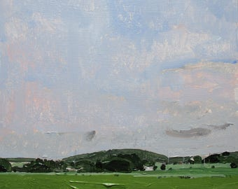 Hidden Bungalow, Original Summer Landscape Painting on Panel, Framed, Stooshinoff