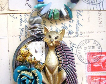 cat pocket watch necklace-FREE SHIPPING-gypsy necklace-boho necklace-bohemian necklace-angel necklace-beaded necklace-steampunk jewelry