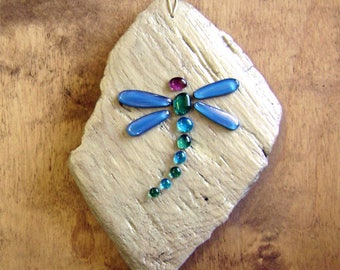 Glass Dragonfly on Driftwood Wall Decor