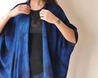 Drape Jacket in Midnight, Hand Dyed with Indigo, Shibori,  Kimono Jacket, Rayon, Anna Joyce