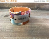 40% OFF- Stamped Leather Cuff-Grace-Word Cuff-Personal Gift