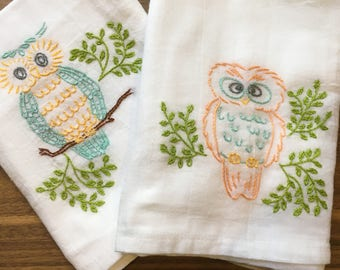What a Hoot Hand Embroidered Dish Towels