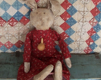 RESERVED for Laurie - Primitive Rabbit Doll, Grungy White Rabbit, Girl Easter Rabbit, AAFA Cloth Doll, Farmhouse Decor - Ready to Ship