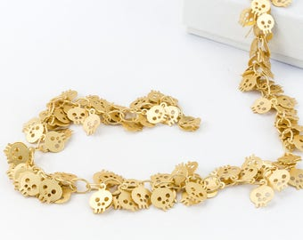 Matte Gold 6mm Dangle Skull Chain #CC107