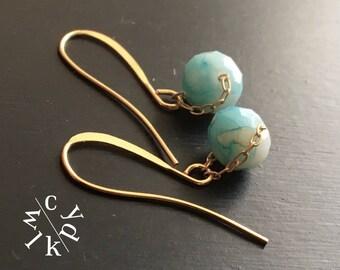 Bombay Blue Earrings, Blue Drop Earrings, Chalcedony Earrings, Minimalist Earrings