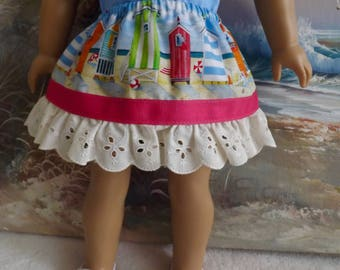 18 Inch Doll Clothes Skirt Will fit American Girl Riley Blake Sand Beach Huts FUN Summer Skirt with Pink Ribbon and Eyelet Ruffle