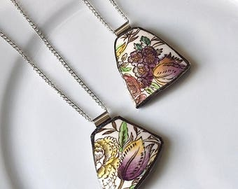 VALENTINE SALE You ComPlate Me Matching Broken Plate Friendship Necklaces - Vintage Garden Bouquet - Recycled China