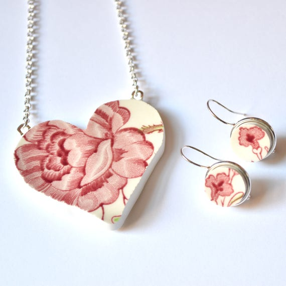 Broken China Jewelry Heart Pendant and Earring Set - Rose Chintz