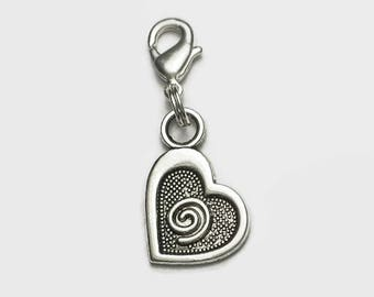Whimsical Spiral Heart Clip On Charm Valentine Wedding Boxed