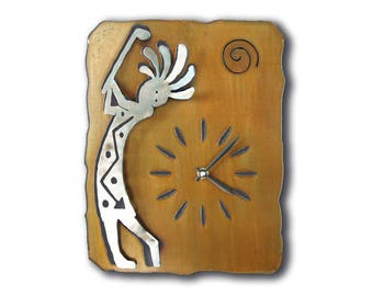 Kokopelli Golf Drive Southwest Cutout Wall Clock - Brown Rust Finish