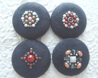 CLEARANCE - 4 fabric buttons, blue buttons, faux suede button, 1.5 inch button, holiday wrapping, wine bag embellishment, tree ornaments