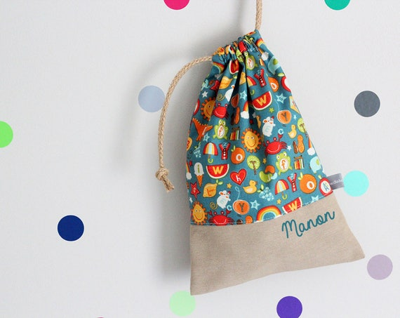 Customizable drawstring pouch - cuddly toy bag - name - kindergarden - ABC - School - rainbow - red - orange - teal - slippers or toys bag