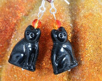Halloween Black Cat Earrings Black Cat Jewelry Sitting Cat Fire Opal Swarovski Crystal Sterling Silver Witch Halloween Costume Accessory