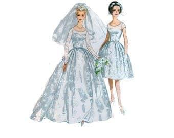 60s uncut Wedding Gown pattern Bridesmaid Dress pattern Party Dress 36-28-38 Fit and Flare Dress pattern Gown Simplicity 4511