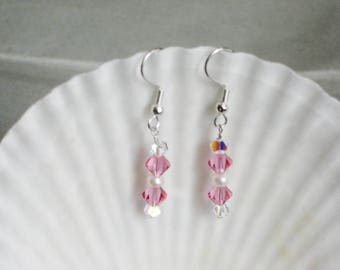Pearl and Crystral Hanging Earrings