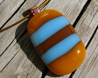 Butterscotch and Aqua Striped Cable Choker