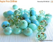 25% OFF Sale Czech Picasso Glass Beads - 7x5mm Rondelle Turquoise/Aqua Mix 20 (G - 689)