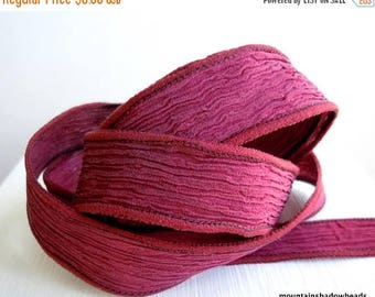 50% OFF Sale Hand Dyed Crinkle Silk Ribbons - Wine (SR - 5)