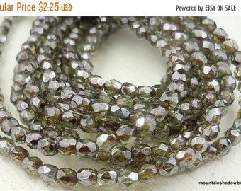 20% Summer SALE 3mm Czech Glass Beads - Firepolished Faceted Faceted Round Beads Olivine Luster (G - 52)