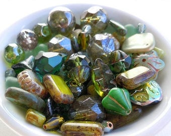 20% Summer SALE Olivine Green Bead Soup Mix  - Czech Glass Beads 30 grams from Mountain Shadow