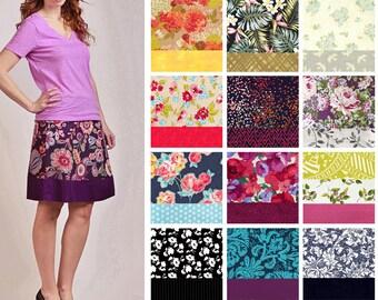 Custom Size A-line Skirt - Low Waist, Bias Cut, Comfortable - Cotton print fabric options