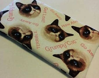 Large GRUMPY CAT Zippered Padded Wallet Pouch Makeup Bag Pencil case