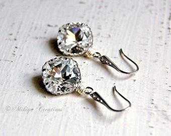 Wedding Earrings, Bridal Swarovski Crystal Cubic Zirconia Drop Earrings, Wedding Jewelry