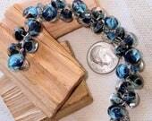UNICORNE  Beads - 23 TEARDROP 8mm x 6mm Borosilicate Beads in BLUEBERRIES 2