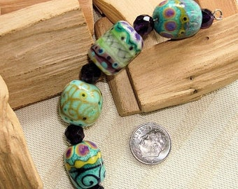 STINGY SALE Artisan Porcelain Clay - 4 HAND-Painted Beads by an European Artist - 18mm