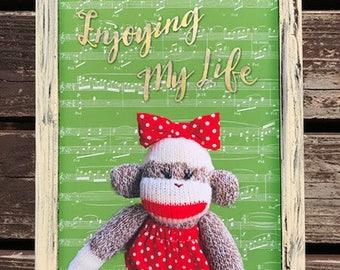 Art Print: Ichigo the Sock Monkey(Enjoying My Life) - A4, Shabby-chic, Sock Monkey Print